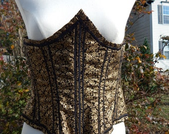 Corset- Underbust Black and Gold