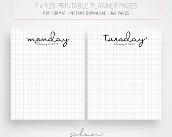 Printable 2017 Planner pages, Graph grid, Fits Mambi Classic, Minimal planner pages, Bullet journal, Fits Happy planner
