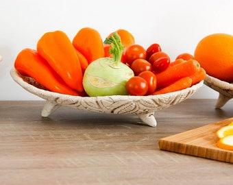 10 in white ceramic fruit holder bowl | Decorative tableware plate | Veggie tray | Vegetable tray | Trifle bowl | White bowl | White plate