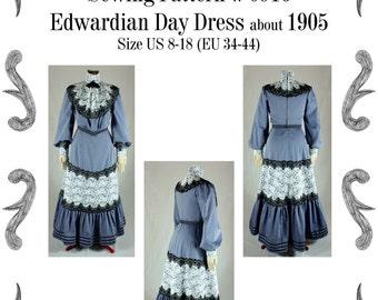Edwardian Day Dress about 1905 with a Turtleneck Sewing Pattern #0916 Size US 8-30 (EU 34-56) PDF Download