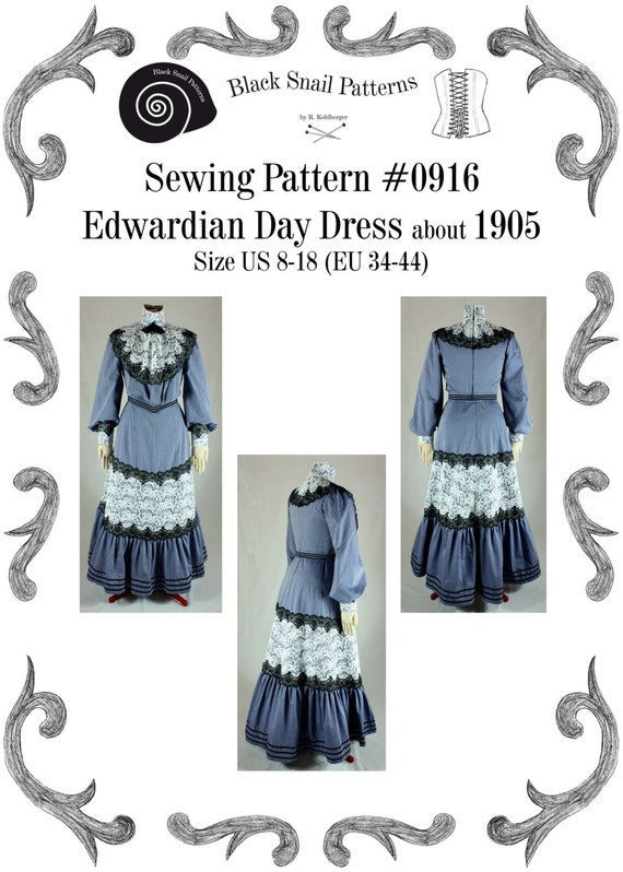 Edwardian Day Dress about 1905 with a Turtleneck Sewing Pattern #0916 Size US 8-30 (EU 34-56) PDF Download by BlackSnailPatterns steampunk buy now online