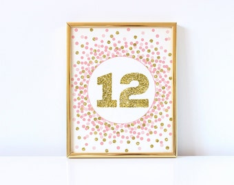 12 Sign, Pink And Gold 12th Birthday Party Sign, Twelfth Birthday Sign, 12 Print, Girl 12th Birthday Party Decorations