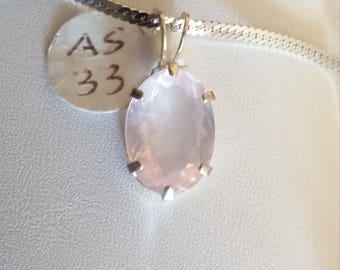 On Sale! Rose Quartz Sterling Silver Pendant, Faceted Rose Quartz Pendant