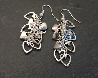 Heart cluster earrings, dangly heart earrings, dangle drop earrings, cluster jewelry, silver heart earrings, valentines gift, heart