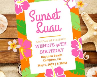 Luau Party Invitation Hawaiian Birthday Or Any Celebration Summer 5x7