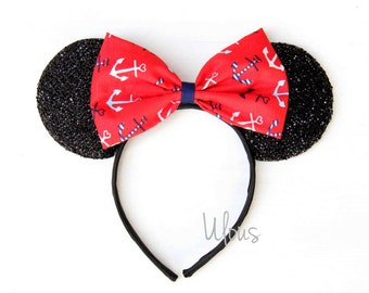 Cruise Mickey Ears, Navy Mickey Ears, Anchor Mickey Ears, Disney Cruise Ears, Disney Ears, Nautical Mickey Ears, Captain Mickey Ears, Ears
