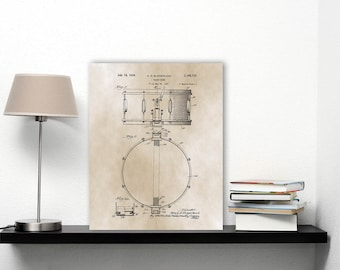 Snare Drum Patent Print, Blueprint Art, Musician Gifts For Drummers, Vintage Art Print, Black Beige Wall Art Download, Music Art Print