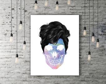 Skull Hair Art Modern Poster, Colorful Wall Art, Skull Gift, Skull Print Your Own Modern Artwork, Skull Girl, Skull Decor, Skull Poster