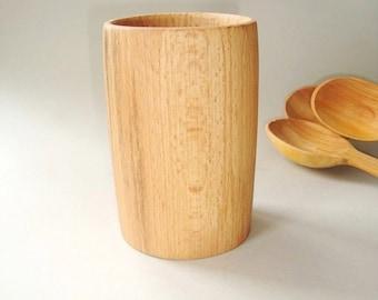 Wood utensil holder. Cutlery pot. Spoon pot. Pen holder. Pencil pot