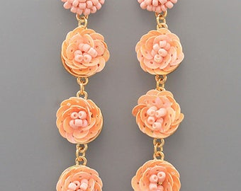 Blush Sequin Blossom Drop Earrings