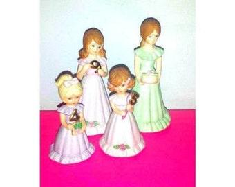 Vintage Enesco Growing Up Girls,Birthday Girl Figurine, Growing Up Girl,Cake Topper,Enesco,Japan,Gold Gilt,Girl Figurine,4 yrs,5 yrs,9 yrs