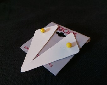 Vintage Afterthoughts White And Yellow Enamel Geometric Triangle Stud Earrings