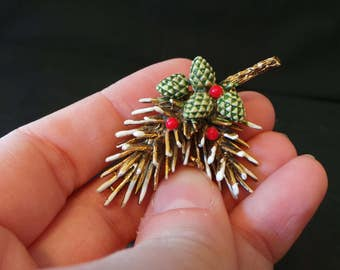 SALE Vintage Signed ART Gold Winter Pine Cone Needles Tree Enamel Brooch Pin