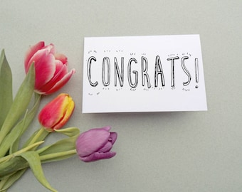 Congrats! - DIY Colour in Card. Congratulations Card - Modern Typography & Adult Colouring Book Blank Card. Personalised Greetings Cards.