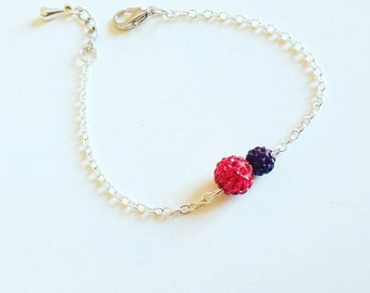 Refined  bracelet with red and plum  strass beads - gift idea