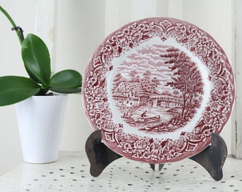 Vintage Grindley 'Homeland' English Dinner Plates, Red Transfer Ware,Made in England