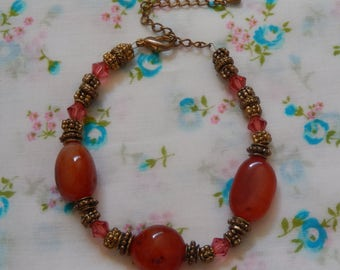 Orange Gemstone Swarovski Crystal Antique Brass Plated Bracelet