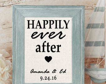 Happily Ever After Burlap Print | Personalized Bridal Shower Gift | Personalized Wedding Gift for Couples | Disney Wedding Gift