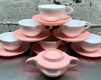 1960's Mid Century Modern/Pink White Holiday Melmac by Kenro/Fredonia Wisconsin/Set of 6  Cups Saucers & Sugar Bowl With Lid/Vintage Coffee