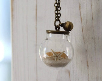 Pendant with shell and starfish real//Collana for you//gift for her