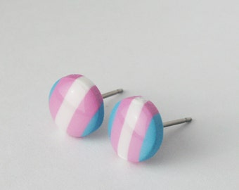 Transgender Pride Earrings, Trans Pride Studs, Transgener Pride Flag Earrings, Small hypoallergenic titanium earrings