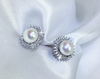 Alicia V - Gorgeous Solitaire Pearl Ear Studs - Freshwater Pearls - Wedding Pearl Jewellery - Bridesmaids Pearls