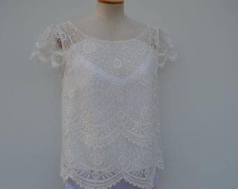 Ivory lace blouse | Etsy