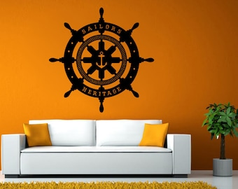Ships Boat Yacht Steering Wheel Sailor Heritage Nautical Wall Stickers Decals Vinyl Mural Decor Art L2097