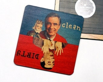 Clean Dirty Dishwasher Magnet Mr. Rogers Pee Wee Herman Notifier Sign