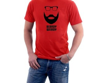Beardy Weirdy T-shirt. Hipster Short Beard & Glasses. Funny Cotton Tee.
