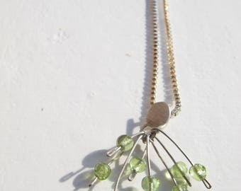 Pendant olivine and Peridot sterling silver necklace, pendant beads Peridot, Natural stone necklace, gift birthday, Special piece