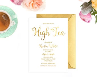 High Tea Invitation, Faux Gold Foil Bridal Shower Invitation, High Tea Invitation Printable, Tea Party Invitation