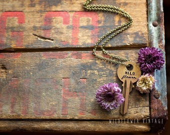 Wildflower Key Necklace | Hand Stamped Vintage repurposed jewelry mixed font script