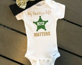 Fathers Day Gift | My Daddy's Life Matters Baby Outfit | Law Enforcement LEO family Deputy Sheriff Baby Bodysuit | Thin Blue Line