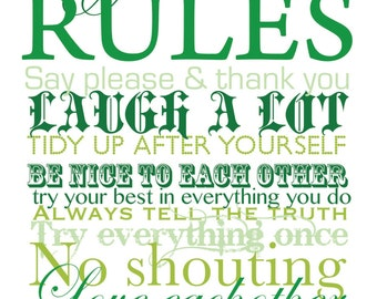 Personalised House Rules Print - Digital Download - PDF