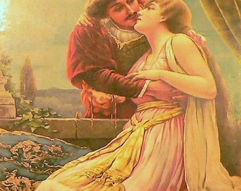"1895 ""Romeo & Juliet"" Matted Antique Print"