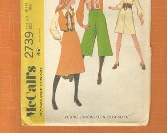 McCalls 2739 Vintage 1970's Junior/Teen Separates Pattern~ Complete & Uncut