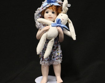 Melissa McCrory Porcelain Doll, bunny, signed, Numbered, blue eyes, Red hair, spring clothes, Collectable,
