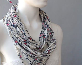 Aztec Print Cotton Jersey Scarf, layered scarf, infinity scarf