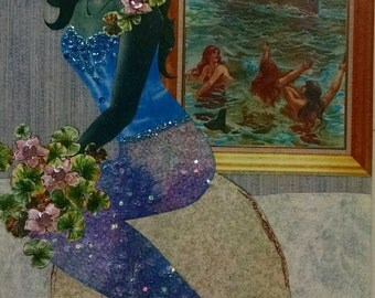 Water Lily Mermaid Greeting Card-Shipwreck, Ocean ,Full Moon,ship, portrait, water lily, lilies,Sea Siren