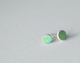 Green Gradient Dot Earrings