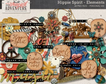 Boho hippie digital scrapbooking elements instant download, leather, lace, wood slice, feathers, charms, crochet flowers, peace
