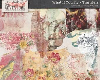 Art journal digital scrapbook elements, digital download, what if you fly, transfers, overlays, vintage ephemera, artsy, paint, scribbles
