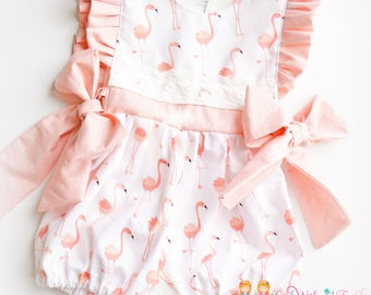 Baby Girl Romper, Flamingo Romper, Toddler Romper, Toddler Girls Bubble, Playsuit, Summer Outfit, Flamingo Party Outfit, Baby Shower Gift