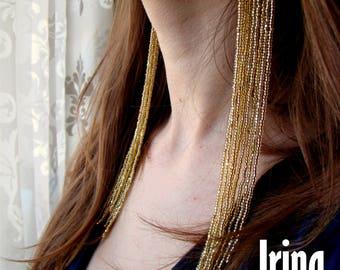 Shine light gold Extra long beaded earrings Fringe Earrings Bohemian Earring Jewelry Women Beaded Seeds Cluster Tassel Drop Dangle Earrings
