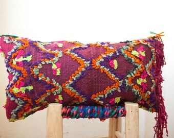 VINTAGE MOROCCAN PILLOW, Handmade Decorative Pillow, Bohemian Pillow Cover with Tribal Designs, Berber Pillow, Boho Pillow