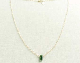 Green Tourmaline Necklace, Tourmaline Necklace Gold, 14k Tourmaline Necklace, Green Crystal Necklace, Green Tourmaline, Tourmaline, GN66