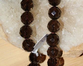 "8"" Strand of 10mm Faceted Round Smokey Quartz Beads #9"