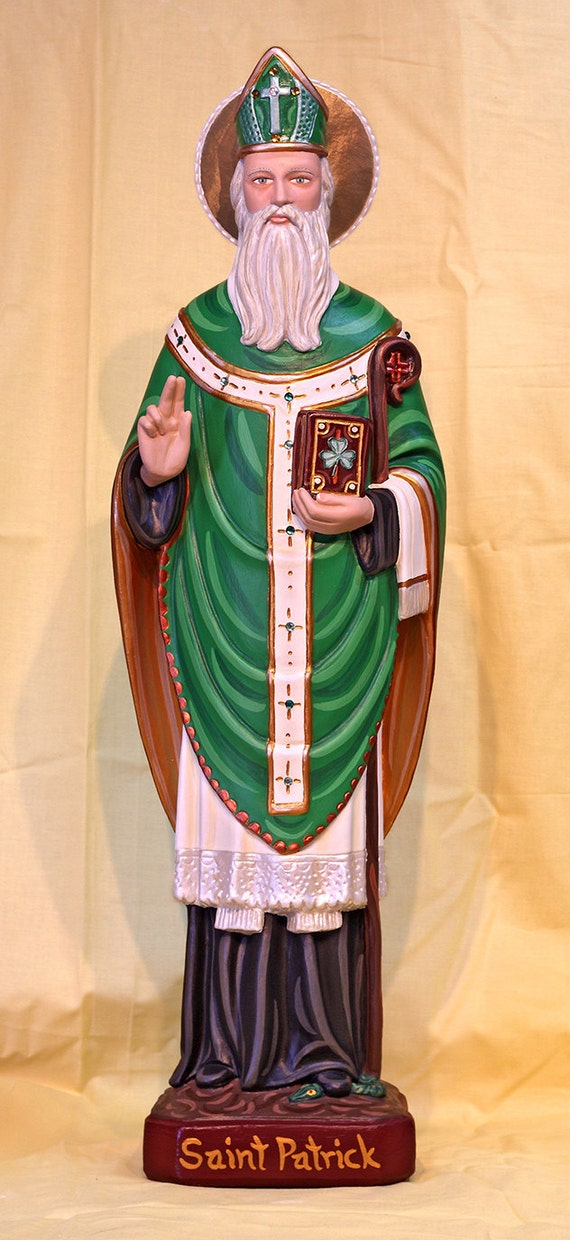 "St. Patrick 25"" Bishop Catholic Christian Plaster Irish Statue"