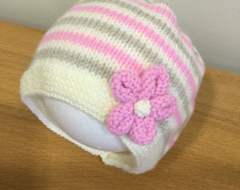 Baby Girls Hat, Pull on Hat, Girls Stripe Hat, 0-6 month Baby Hat, Reborn Baby Hat, Baby Gift, Baby Shower Gift - Ready to Ship.
